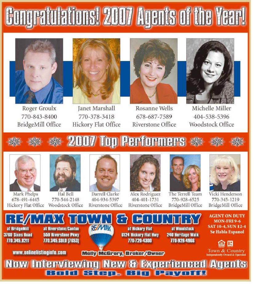 RE/MAX Town & Country 2007 Agents of the Year